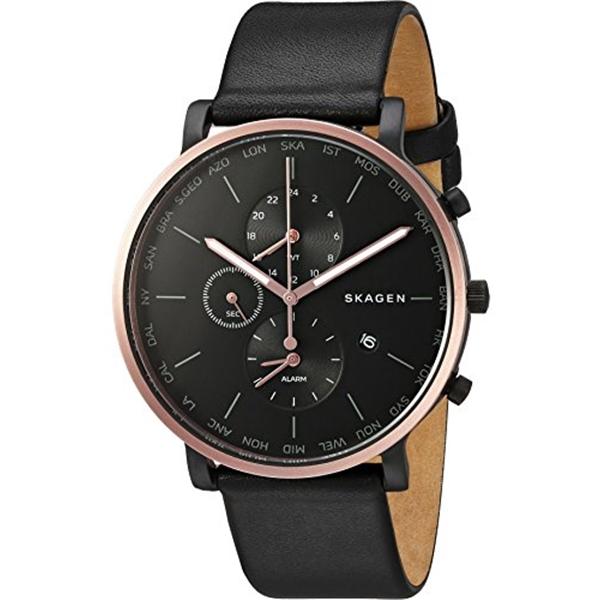 スカーゲン Skagen 腕時計 Skagen Men's SKW6300 Hagen Black Leather Watch