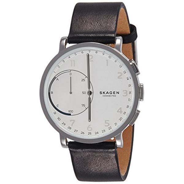 スカーゲン Skagen 腕時計 Skagen Hagen Connected Black Leather Hybrid Smartwatch