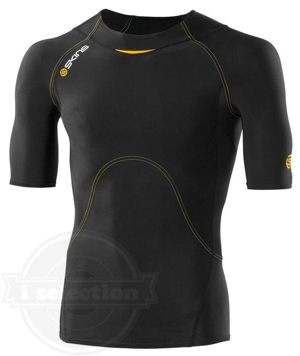 【スキンズ メンズ A400 SKINS Men's A400 Short Sleeve Top black/yellow】