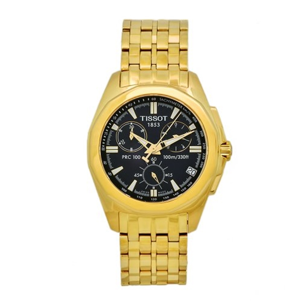 "ティソ Tissot 腕時計 メンズ 時計 Tissot Men""s T22568641 PRC 100 Goldtone Stainless Steel Chronograph Watch"