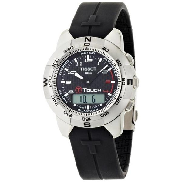 ティソ Tissot 腕時計 メンズ 時計 Tissot Men's T33789892 T-Touch Polished Titanium Black Rubber Watch