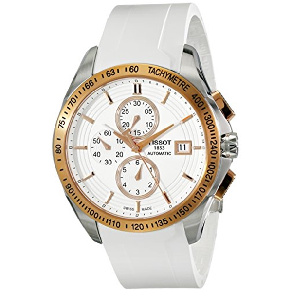 "ティソ Tissot 腕時計 メンズ 時計 Tissot Men""s ""Veloci-T"" White Dial White Rubber Strap Chronograph Watch T024.427.27.011.00"