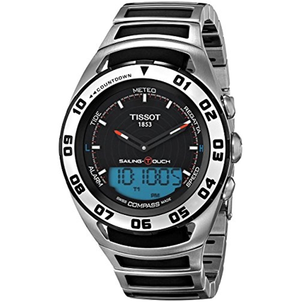 ティソ Tissot 腕時計 メンズ 時計 Tissot Men's 'Sailing Touch' Black Dial Stainless Steel/Rubber Multifunction Watch T056.420.21.051.00