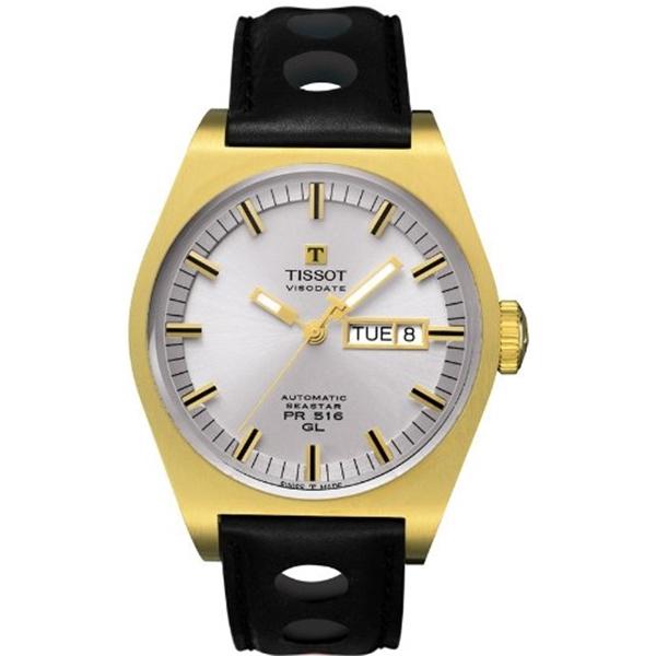 ティソ Tissot 腕時計 メンズ 時計 Tissot PR 516 Mens Silver PVD Automatic Heritage Watch - T0714303603100