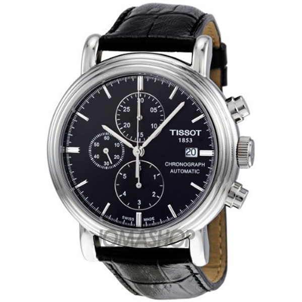 """ティソ Tissot 腕時計 メンズ 時計 Tissot Black Dial SS Leather Chronograph Automatic Men""""s Watch T0684271605100"""