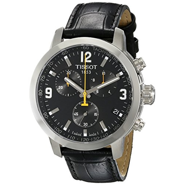 ティソ Tissot 腕時計 メンズ 時計 Tissot Men's TIST0554171605700 PRC 200 Chronograph Stainless Steel Watch with Black Leather Band