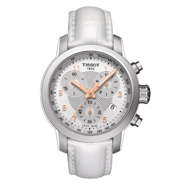 ティソ Tissot 腕時計 メンズ 時計 Tissot Men's Swiss Quartz Stainless Steel and Leather Casual Watch, Color:White (Model: T0552171603201)