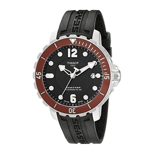 ティソ Tissot 腕時計 メンズ 時計 Tissot Men's T0664071705703 Seastar Analog Display Swiss Automatic Black Watch