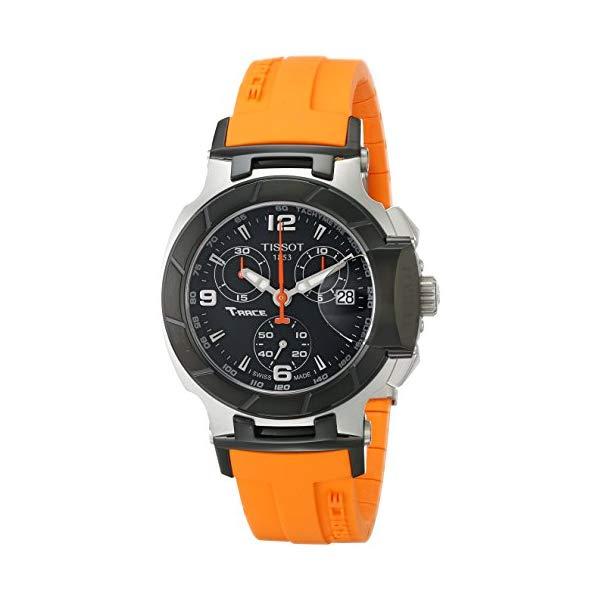 ティソ 腕時計 TISSOT T0482172705700 ウォッチ Tレース 替えバンド 替えベルト ストラップ レディース 女性用 Tissot Women's T0482172705700 T-Race Black Chronograph Dial Orange Strap Watch