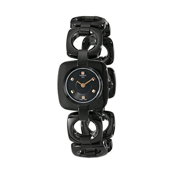 ティソ 腕時計 TISSOT T020.109.11.051.00 ウォッチ レディース 女性用 Tissot Women's T020.109.11.051.00 Odaci-T Black Dial PVD Square Watch