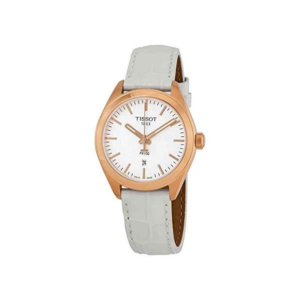ティソ 腕時計 TISSOT T1012103603101 ウォッチ レディース 女性用 Tissot PR100 T101.210.36.031.01 Women's Watch White Leather band Rose Gold Stainless Steel