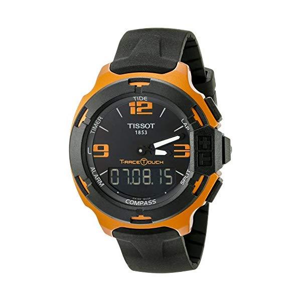 """ティソ 腕時計 TISSOT T0814209705703 ウォッチ Tレース メンズ 男性用 Tissot Men""""s T0814209705703 T-Race Touch Aluminum Watch with Black Band"""