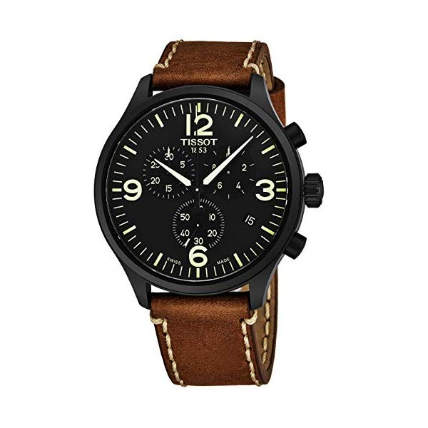 ティソ 腕時計 TISSOT T116.617.36.057.00 ウォッチ メンズ 男性用 Tissot Chrono XL Mens Chronograph Watch - 45mm Analog Black Face with Date and Sapphire Crystal - Brown Leather Band Swiss Made Black PVD Stainless Steel Luxury Quartz Watch for Men