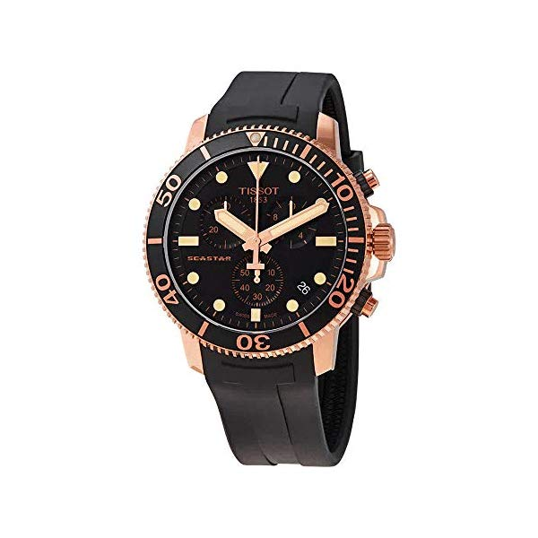 ティソ 腕時計 TISSOT T1204173705100 ウォッチ メンズ 男性用 Tissot Seastar 1000 T120.417.37.051.00 Black Rubber Rose Gold Chronograph Mens Watch