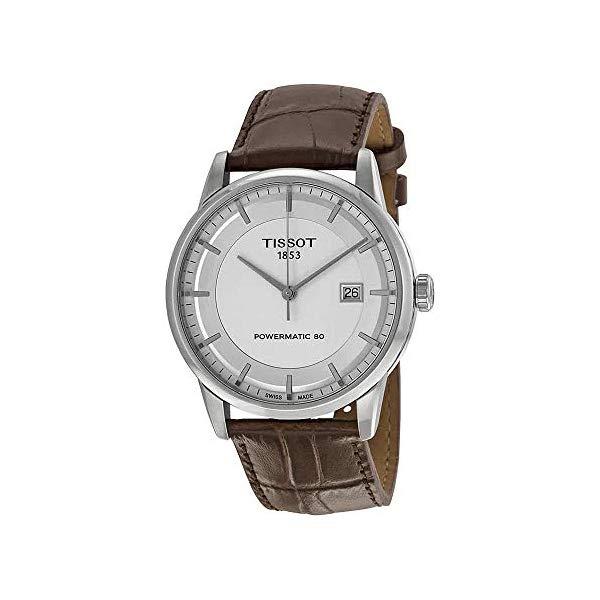 ティソ 腕時計 TISSOT T086.407.16.031.00 ウォッチ メンズ 男性用 Tissot Luxury Powermatic 80 Automatic Silver Dial Brown Leather Mens Watch T0864071603100