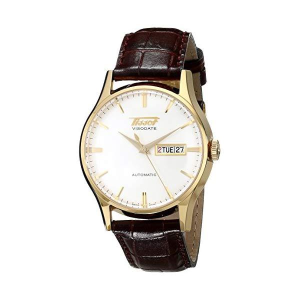 ティソ 腕時計 TISSOT TIST0194303603101 ウォッチ メンズ 男性用 Tissot Men's T0194303603101 Visodate Yellow Gold-Tone Stainless Steel Brown Leather Watch