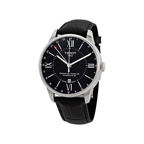 ティソ 腕時計 TISSOT T0994291605800 ウォッチ メンズ 男性用 Tissot Chemin Des Tourelles GMT Automatic Mens Black Leather Watch T0994291605800