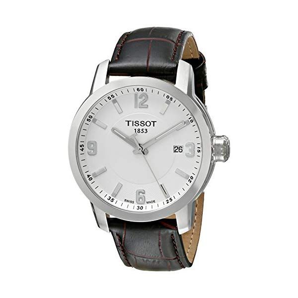 ティソ 腕時計 TISSOT T0554101601701 ウォッチ メンズ 男性用 Tissot Men's T055.410.16.017.01 'Prc 200' White Dial Brown Leather Strap Swiss Quartz Watch