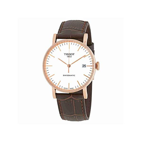 ティソ 腕時計 TISSOT T109.407.11.031.00 ウォッチ メンズ 男性用 Tissot Everytime Swissmatic Mens Rose Gold Automatic Watch - 40mm Analog White Face Dress Watch with Date and Sapphire Crystal - Brown Leather Band Swiss Made Classic Watch for Men