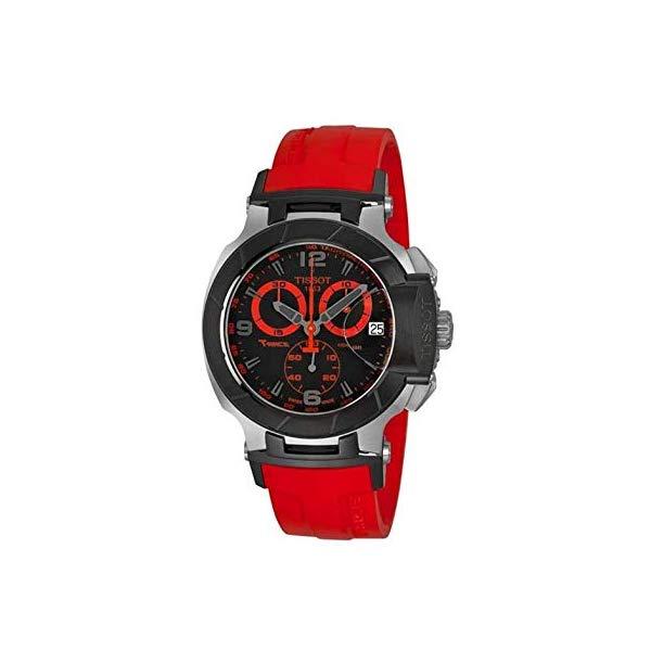 ティソ 腕時計 TISSOT T0484172705702 ウォッチ Tレース メンズ 男性用 Tissot Men's T0484172705702 T-Race Two-Tone Stainless Steel Watch with Red Rubber Band