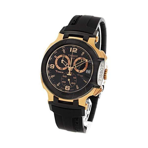 ティソ 腕時計 TISSOT T048.417.27.057.06 ウォッチ メンズ 男性用 Tissot Men's T048.417.27.057.06 T-sport Rose-gold PVD Black Rubber Strap Watch