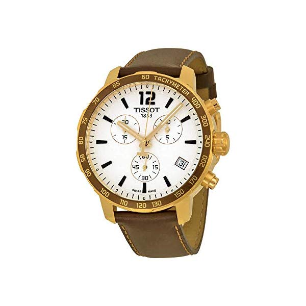 ティソ 腕時計 TISSOT T0954173603702 ウォッチ Tissot Quickster Chronograph Silver Dial Brown Leather Gold