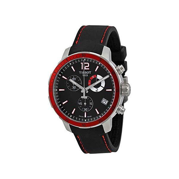 ティソ 腕時計 TISSOT T0954491705701 ウォッチ メンズ 男性用 Tissot Quickster Chrono Football Silicone - Black Men's watch #T095.449.17.057.01