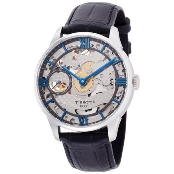 ティソ Tissot 腕時計 メンズ 時計 Tissot Chemin Des Tourelles Squelette Automatic Leather Mens Watch T0994051641800