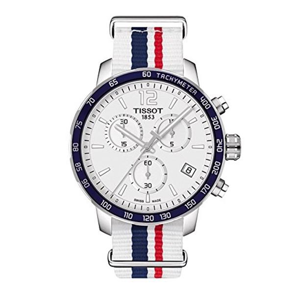 ティソ Tissot 腕時計 メンズ 時計 Tissot Quickster Nato Chronograph T095.417.17.037.09 White/White with Blue and Red Stripe Nylon