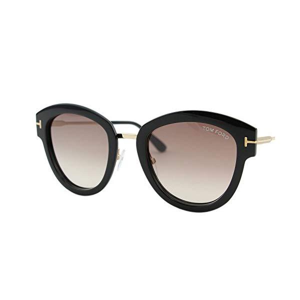 トムフォード サングラス TOM FORD FT0574 Tom Ford FT0574 01T Shiny Black Mia Round Sunglasses Lens Category 2 Size 52mm