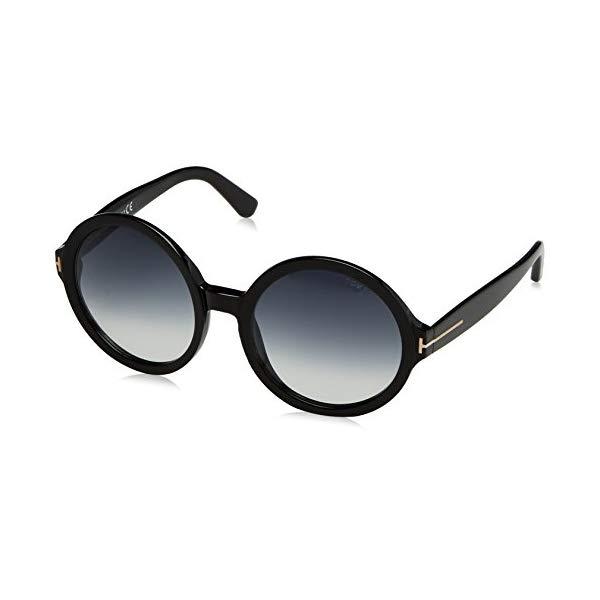トムフォード サングラス TOM FORD FT0369 PAN 01B Tom Ford Juliette Round Sunglasses in Shiny Black FT0369 01B 55