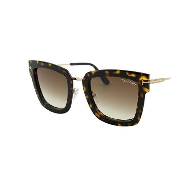 トムフォード サングラス TOM FORD FT0573 2018 Tom Ford Lara-02 FT0573 Women Dark Havana & Gold Square T Logo Sunglasses