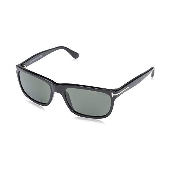 トムフォード サングラス TOM FORD FT0337 Tom Ford FT0337 Hugh Rectangular Sunglasses TF337 Color: Shiny Black Lens Color: Polarized Green