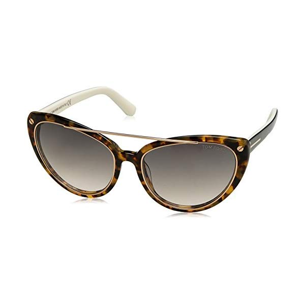 トムフォード サングラス TOM FORD FT0384 Tom Ford Edita Sunglasses FT0384 56B, Tortoise and Gold Frame, Grey Gradient Lens, 58