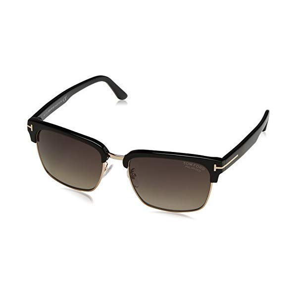 トムフォード サングラス TOM FORD Polarized FT0367 01D Tom Ford Men's River Clubmaster Sunglasses in Shiny Black Polarised FT0367 01D 57