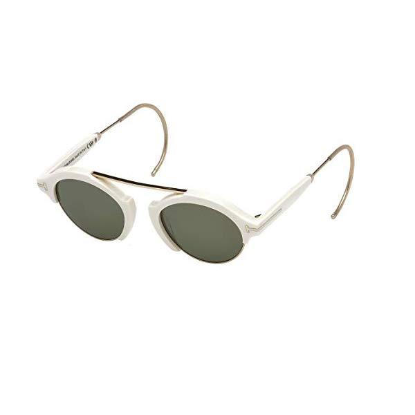トムフォード サングラス TOM FORD FT0631 Tom Ford FT0631 Oval Sunglasses Farrah-02 49mm (25N White/Gold, Green)