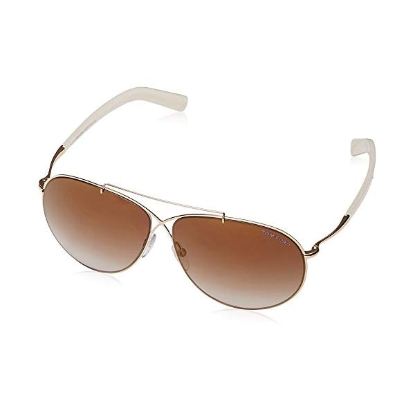 トムフォード サングラス TOM FORD FT0374 28G Tom Ford Women's Eva Aviator Sunglasses Shiny Rose Gold Brown Mirror FT0374 28G 61
