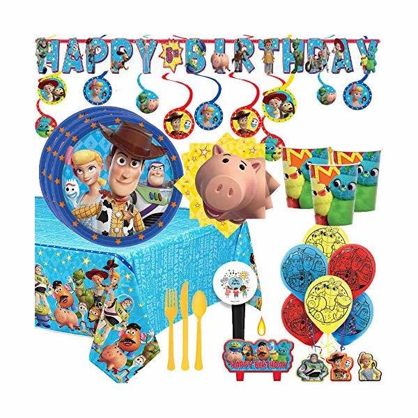 トイストーリー4 バースデー パーティーセット お誕生日会 パーティーグッズ おもちゃ グッズ MEGA Toy Story 4 Birthday Party Supplies and Decoration Pack For 16 With Plates, Napkins, Tablecover, Cups, Cutlery, Balloons, Candle, Birthday Banner, Swirls