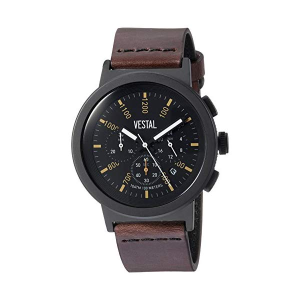 ベスタル 腕時計 VESTAL SLR44CL03.DBNK Vestal Stainless Steel Quartz Watch with Leather Strap, Brown, 22 (Model: SLR44CL03.DBNK)