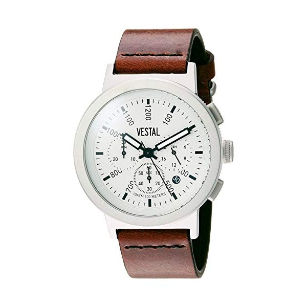 ベスタル 腕時計 VESTAL SLRCL001 Vestal Retrofocus Chrono Stainless Steel Japanese-Quartz Watch with Leather Calfskin Strap, Brown, 0.85 (Model: SLRCL001)