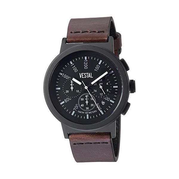 ベスタル 腕時計 VESTAL SLR44CL02.DBNK Vestal Stainless Steel Quartz Watch with Leather Strap, Brown, 22 (Model: SLR44CL02.DBNK)