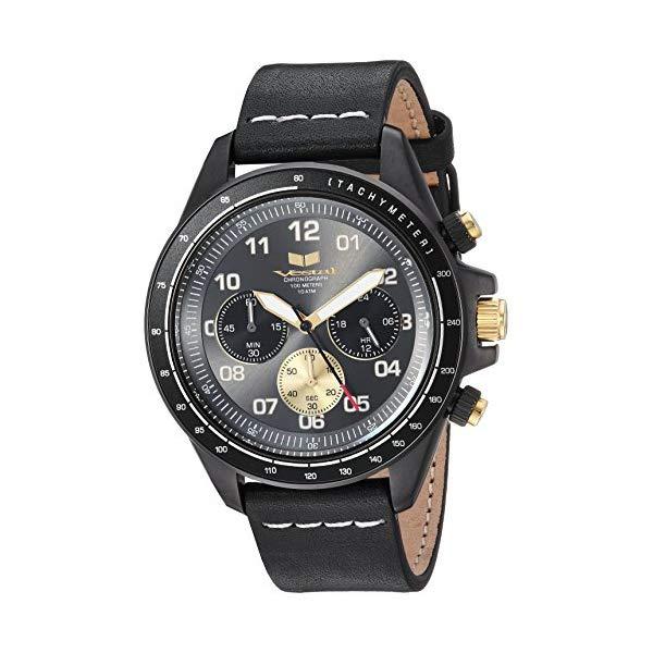 ベスタル 腕時計 VESTAL ZR243L27.BKWH Vestal ZR2 Leather Stainless Steel Japanese-Quartz Watch with Strap, Black, 19.5 (Model: ZR243L27.BKWH)