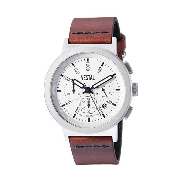 ベスタル 腕時計 VESTAL SLR44CL01.CVBK Vestal Stainless Steel Quartz Watch with Leather Strap, Brown, 22 (Model: SLR44CL01.CVBK)