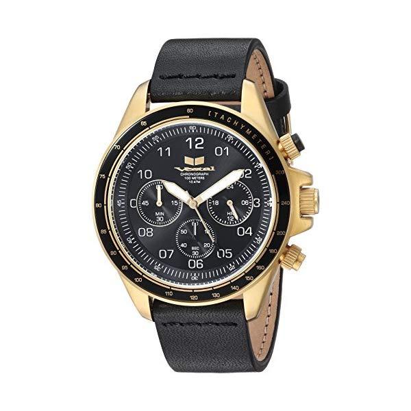 ベスタル 腕時計 VESTAL ZR243L25.BK Vestal ZR2 Leather Stainless Steel Japanese-Quartz Watch with Strap, Black, 20 (Model: ZR243L25.BK)
