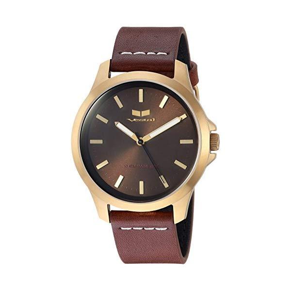 ベスタル 腕時計 VESTAL HEI393L12.LBWH Vestal Stainless Steel Analog-Quartz Watch with Leather Strap, Brown, 18 (Model: HEI393L12.LBWH
