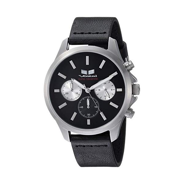 ベスタル 腕時計 VESTAL HEI39CL04.BK Vestal Heirloom Chrono Leather Stainless Steel Japanese-Quartz Watch with Strap, Black, 18 (Model: HEI39CL04.BK)