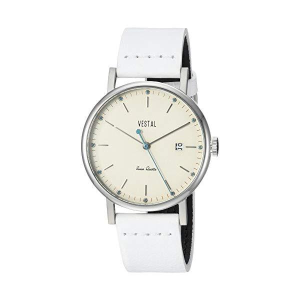 ベスタル 腕時計 VESTAL SP36L04 Vestal Sophisticate 36 Stainless Steel Swiss-Quartz Watch with Leather Calfskin Strap, White, 18 (Model: SP36L04)