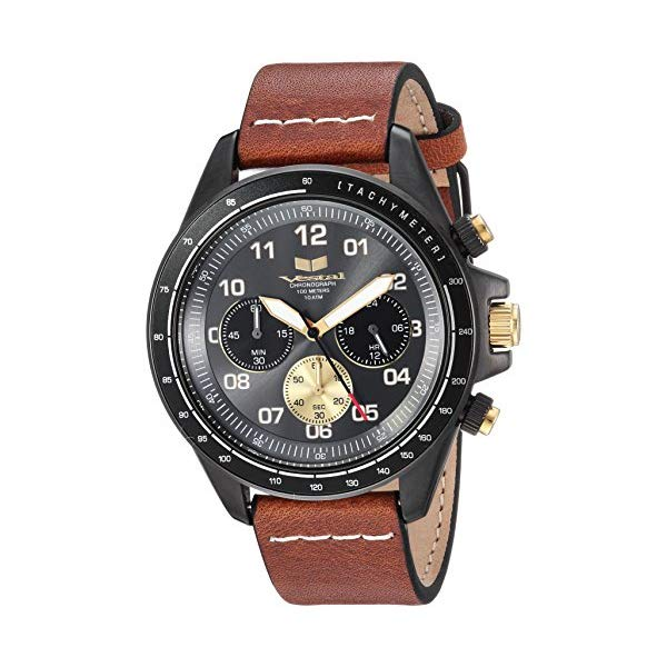 ベスタル 腕時計 VESTAL ZR243L27.LBWH Vestal ZR2 Leather Stainless Steel Japanese-Quartz Watch with Strap, Brown, 20 (Model: ZR243L27.LBWH
