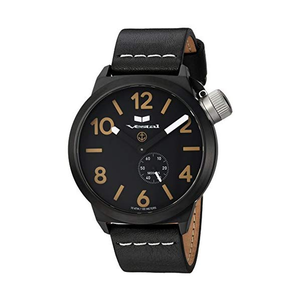 ベスタル 腕時計 VESTAL CNT453L07.BKWH Vestal Stainless Steel Quartz Watch with Leather Calfskin Strap, Black, 22 (Model: CNT453L07.BKWH)