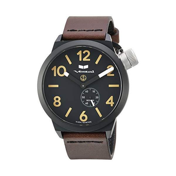 ベスタル 腕時計 VESTAL CNT3L07 Vestal Canteen Italia Stainless Steel Japanese-Quartz Watch with Leather Calfskin Strap, Brown, 22 (Model: CNT3L07)